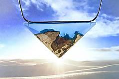 Náhrdelníky - Egyptský Amulet- Drevený nahrdelník modrý/tyrkys - 11142388_