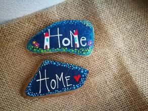 """Dekorácie - Maľovaný kameň """"Home"""" - 11142674_"""