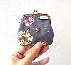 Peňaženky - Peňaženka mini Šedá s kvetmi - 11141004_