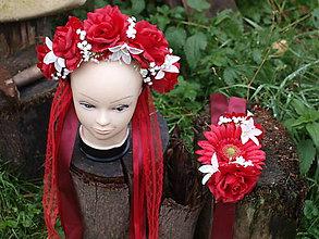 Ozdoby do vlasov - Červený svadobný set parta a opasok - 11142891_