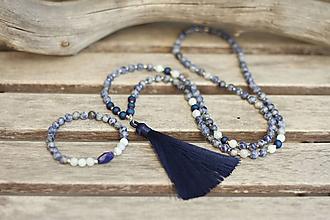 Náhrdelníky - Japa Mala náhrdelník sodalit, akvamarín, achát - 11140967_