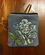 """Taštičky - COSMETIC CASE """"Peony"""" kožená taštička s maľbou - 11141005_"""