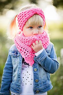 Detské súpravy - Neónovo ružová šatka a čelenka - 11143497_