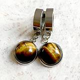 Náušnice - Tiger Eye Stainless Steel Earrings / Visiace náušnice s tigrím okom (chirurgická oceľ)  - 11144494_