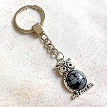 Kľúčenky - Snowflake Obsidian Owl Keychain / Kľúčenka s obsidiánom - sova - 11147784_