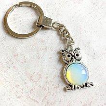 Kľúčenky - Opalite Owl Keychain / Kľúčenka s opalitom - sova - 11147935_