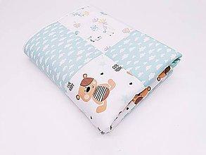 Textil - Mentolovo-béžová prešívaná deka s barančekom - 11144941_