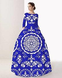 """Šaty - FLORAL FOLK """" Slovenská ornamentika """", spoločenské dlhé šaty (Modrá parížska + biely akvarel) - 11144095_"""