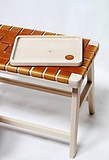 Nádoby - Drevený podnos s koženým logom PUREHOME - 11145965_