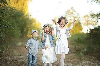 Ozdoby do vlasov - Venček z eukalyptu a so zlatými lístkami a bobuľkami - detský - 11147252_