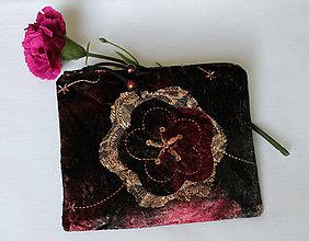 Taštičky - SAShEnka no. 216 - veľký sametový kvet bordovozlatý - 11146941_
