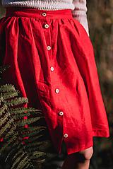 Sukne - Červená ľanová sukňa - 11147606_