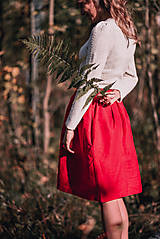 Sukne - Červená ľanová sukňa - 11147608_