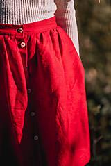 Sukne - Červená ľanová sukňa - 11147617_