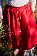 Sukne - Červená ľanová sukňa - 11147618_