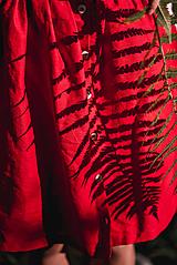 Sukne - Červená ľanová sukňa - 11147619_