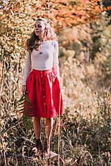 Sukne - Červená ľanová sukňa - 11147621_