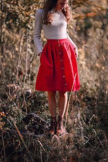 Sukne - Červená ľanová sukňa - 11147607_