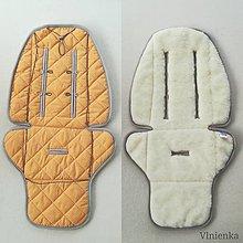 Textil - Podložka do kočíka CYBEX balios S proti poteniu 100 % merino top super wash MUSTARD DOT - 11145680_