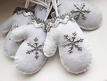 Vianočné rukavičky - strieborné
