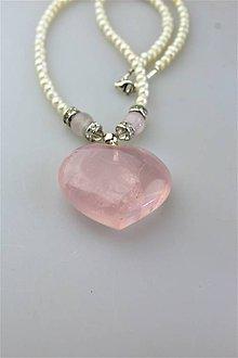 Náhrdelníky - ruženín srdce a perly náhrdelník - 11147980_