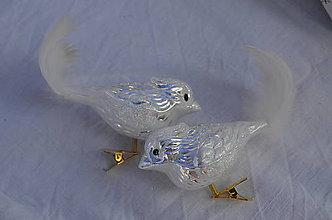 Dekorácie - Biely lesklý vtáčik - 11146366_