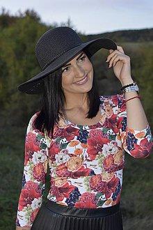 Tehotenské/Na dojčenie - Tričko na dojčenie s 3/4 rukávom - jesenné kvety a hrozno - 11144040_