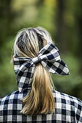 Ozdoby do vlasov - Károvaná maxi ušatá mašľa do vlasov - 11147323_
