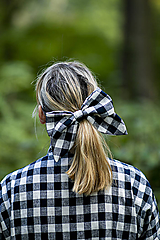 Ozdoby do vlasov - Károvaná maxi ušatá mašľa do vlasov - 11147324_