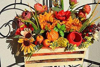 Dekorácie - Jesenná dekorácia v bedničke - 11143933_
