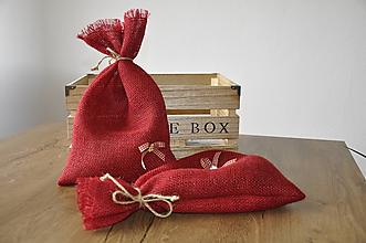 Úžitkový textil - červené jutové - 11145387_