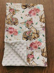 Textil - Minky deka so srnkami - 11148201_
