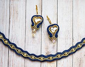 Sady šperkov - Šujtášový set Zlaté Srdiečka - 11146568_