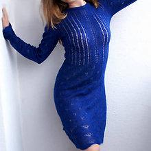 Šaty - Pletené modré šaty  (Modrá) - 11143946_