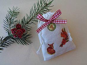 Úžitkový textil - Vianočné ľanové vrecúško - 11147761_