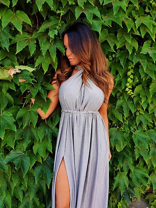 Šaty - Silver Shiny Dress - 11145388_