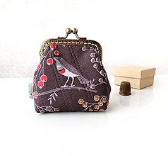 Peňaženky - Peňaženka Vtáčiky a bobuľky - M - 11146506_