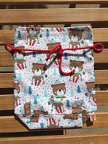 Úžitkový textil - mlkulašske vrecúško s červenou šnurkou - 11148238_
