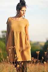 Šaty - Mušelínové okrové - 11145514_