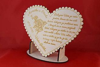 Darčeky pre svadobčanov - Drevene srdiečko ako poďakovanie rodičom - 11146759_
