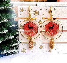 Náušnice - Vianočné náušnice s jeleňom a šiškou, striebro Ag - 11145697_