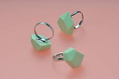 Prstene - Geometrický nastaviteľný prsteň | minimal arch | mint green - 11150126_