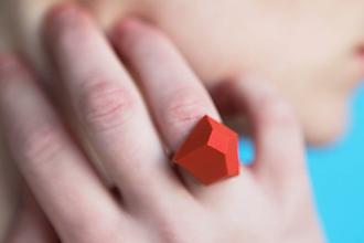Prstene - Geometrický nastaviteľný prsteň   minimal arch   coral red - 11149505_
