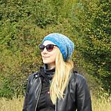 Čiapky - Modro šedá melírovaná čiapka - 11150794_