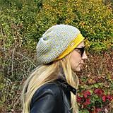 Čiapky - Žlto šedá melírovaná čiapka - 11151759_