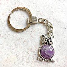 Kľúčenky - Amethyst Owl Keychain / Kľúčenka s ametystom - sova - 11150084_