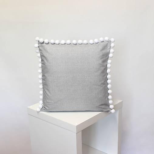 obliečka na vankúš Grey s brmbolcami (3veľkosti)