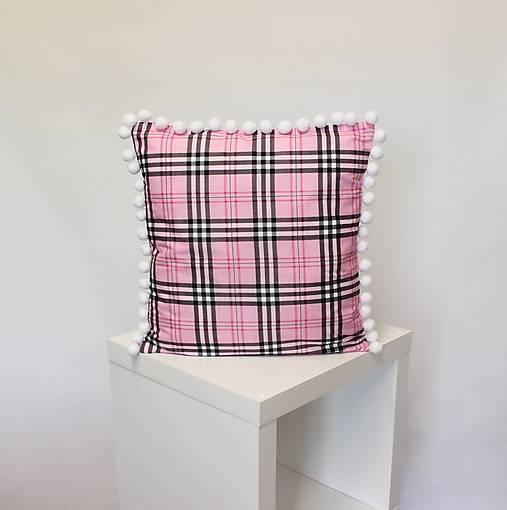 obliečka na vankúš Pink tartan s brmbolcami (3veľkosti)