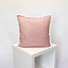 Úžitkový textil - vankúš Dusty rose s brmbolcami (3veľkosti) - 11152821_