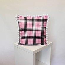 Úžitkový textil - vankúš Pink káro s brmbolcami (3veľkosti) - 11152837_